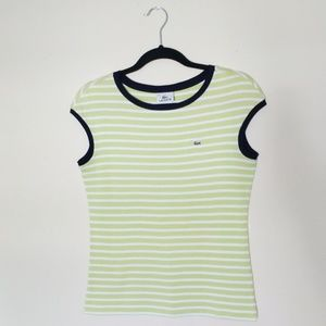Lacoste Lime Green Sleeveless Striped Tee